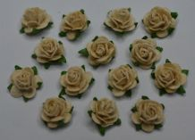 EGG SHELL IVORY Mulberry Paper Roses (only flower head)